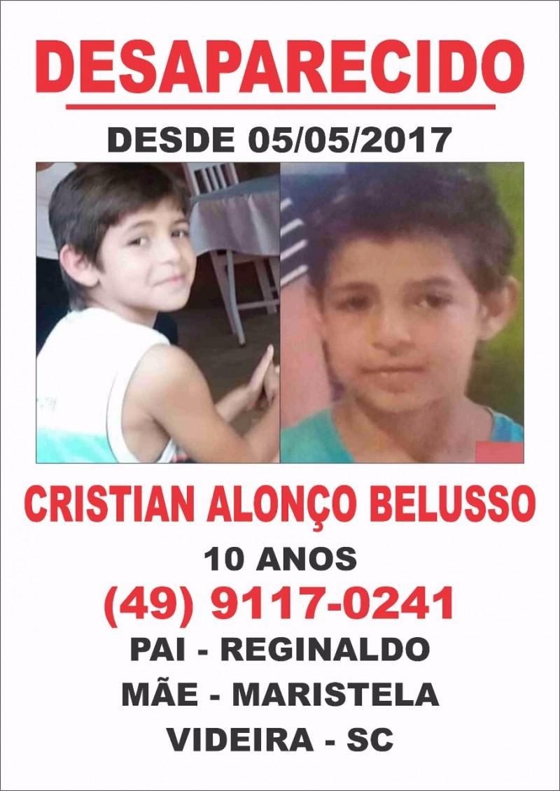 Menino desaparecido em Videira é visto em Brusque