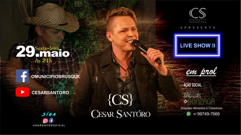 TV Brusque transmite Live Solidária com César Santoro nesta sexta
