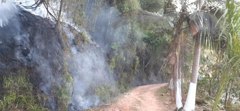Bombeiros controlam incêndio em vegetação no Guarani