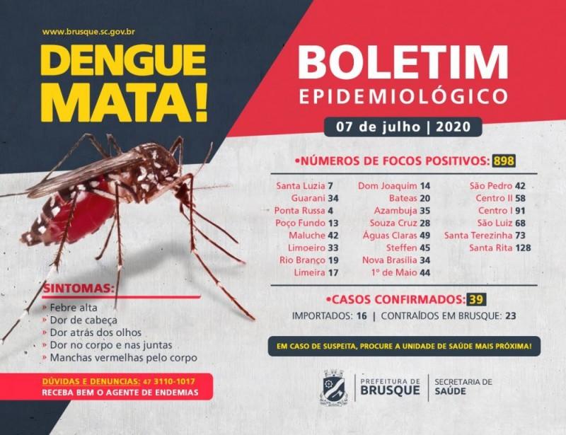 Brusque contabiliza 23 casos de dengue contraídos na cidade